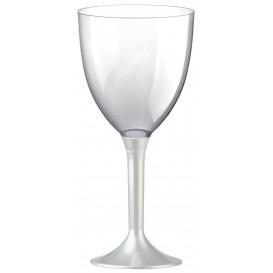 Copa Plastico Vino Pie Blanco Perlado 300ml 2P (20 Uds)