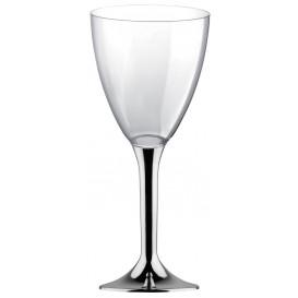 Copa Plastico Vino Pie Plata Cromado 180ml 2P (20 Uds)