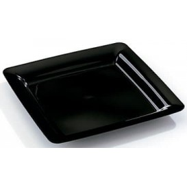 Plato Plastico Cuadrado Extra Rigido Negro 18x18cm (200 Uds)