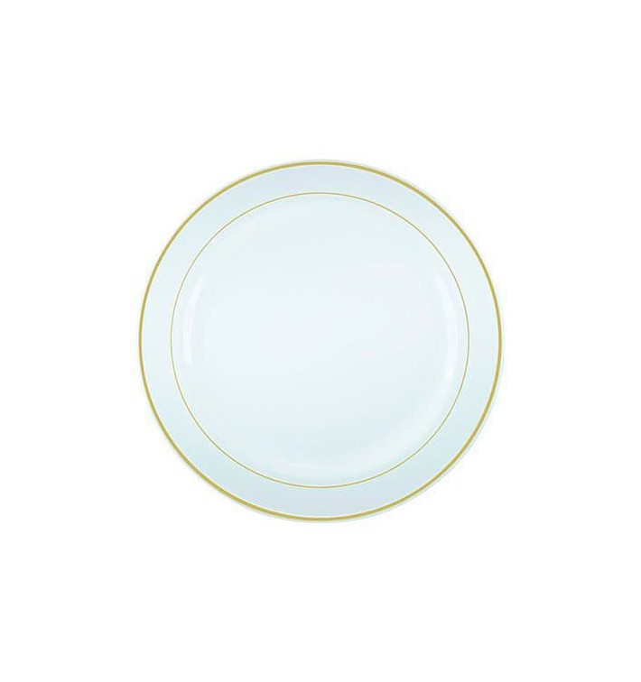 Plato Plastico Extra Rigido Ribete Oro 19cm (20 Uds)