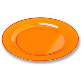 Plato Plastico Redondo Extra Rigido Naranja 23cm (6 Uds)