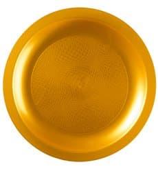 Plato de Plastico Llano Oro Round PP Ø185mm (25 Uds)