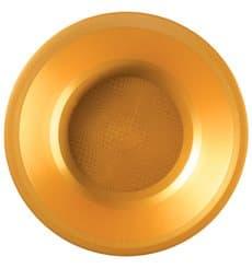Plato de Plastico Hondo Oro Round PP Ø195mm (25 Uds)