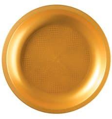 Plato de Plastico Oro Round PP Ø290mm (10 Uds)