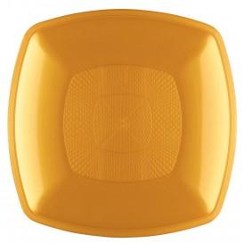 Plato de Plastico Hondo Oro Square PP 180mm (12 Uds)