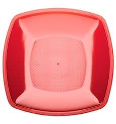Plato de Plastico Llano Rojo Transp. Square PS 180mm (300 Uds)