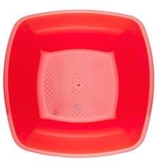 Plato de Plastico Hondo Rojo Transp. Square PS 180mm (300 Uds)