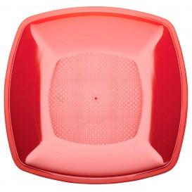 Plato de Plastico Llano Rojo Transp. Square PS 230mm (25 Uds)