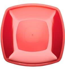 Plato de Plastico Llano Rojo Transp. Square PS 300mm (12 Uds)