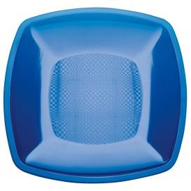 Plato de Plastico Llano Azul Transp. Square PS 180mm (25 Uds)