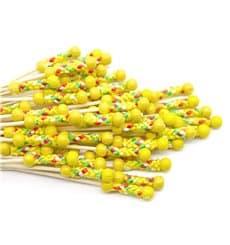 Pinchos de Bambú Decorados en Amarillo 120 mm (200 Uds)