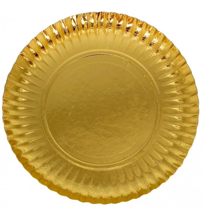 Plato de Carton Redondo Dorado 230 mm (100 Uds)