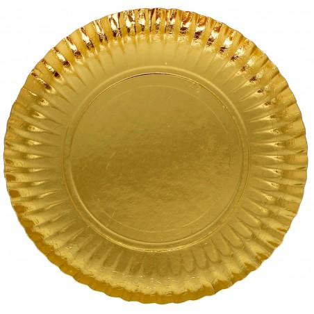 Plato de Carton Redondo Oro 230mm (100 Uds)