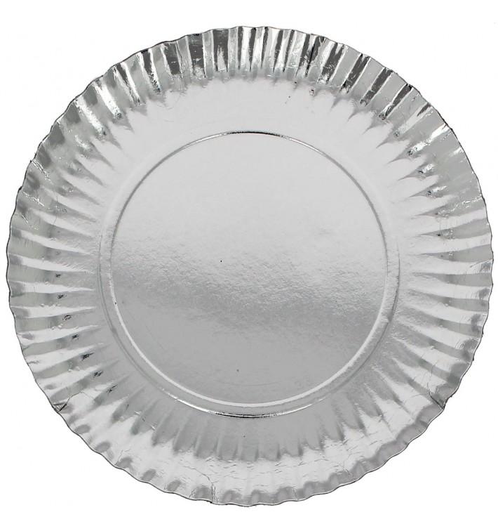 Plato de Carton Redondo Plateado 230 mm (100 Uds)