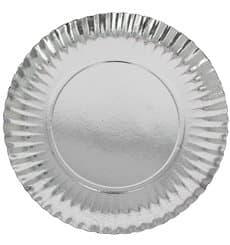 Plato de Carton Redondo Plateado 230 mm (500 Uds)