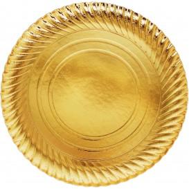 Plato de Carton Redondo Dorado 300 mm (100 Uds)