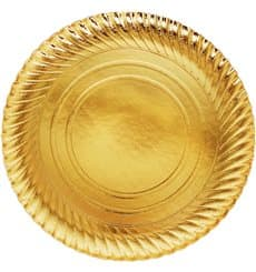 Plato de Carton Oro Redondo 300mm (100 Uds)