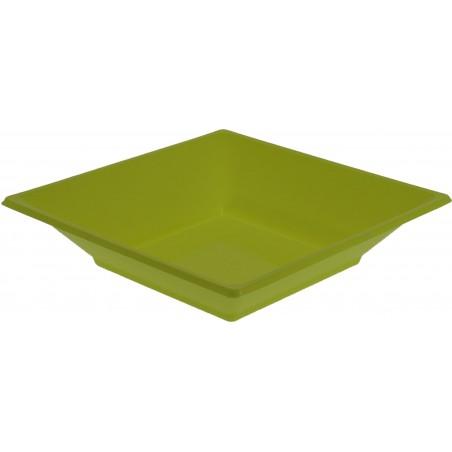 Plato de Plastico Hondo Cuadrado Pistacho 170mm (25 Uds)