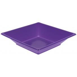 Plato de Plastico Hondo Cuadrado Lila 170mm (5 Uds)