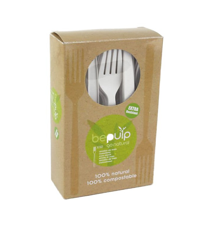 Tenedor Biodegradable CPLA Blanco 160mm en Caja (50 Uds)