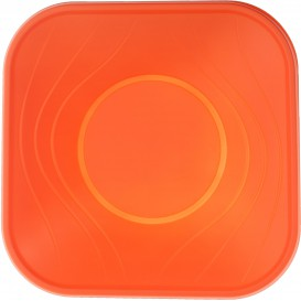 "Bol de Plastico PP ""X-Table"" Cuadrado Naranja 180x180mm (8 Uds)"