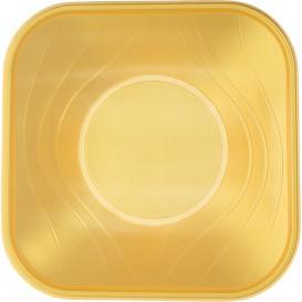 """Bol Plastico PP Cuadrado """"X-Table"""" Oro 18x18cm (8 Uds)"""