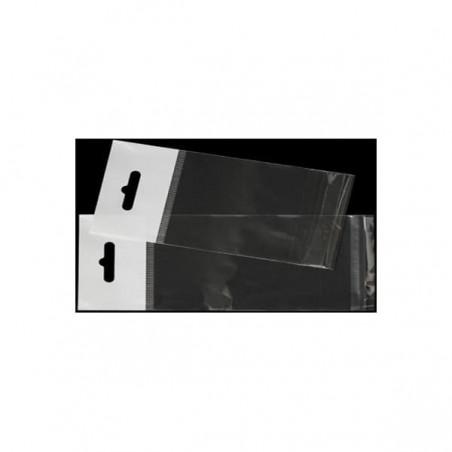 Bolsas de Plastico Biorientado con Solapa Adhesiva, Refuerzo y Eurotaladro 6,5x17 cm G-160 (100 Uds)