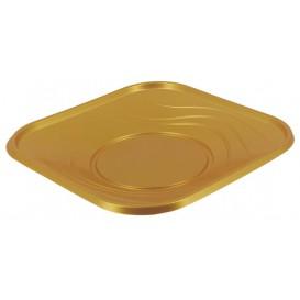 """Plato de Plastico PP """"X-Table"""" Cuadrado Oro 230mm (8 Uds)"""