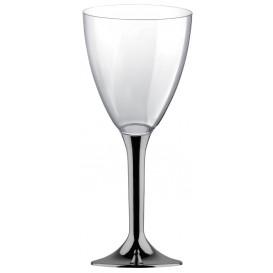 Copa Plastico Vino Pie Niquel Cromado 180ml 2P (200 Uds)