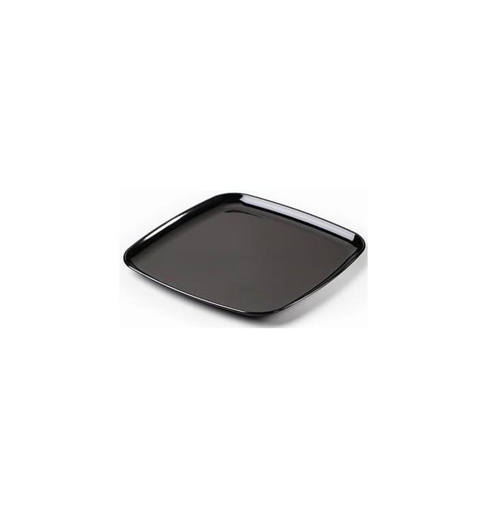 Bandeja Plastico Cuadrada Dura Negro 35x35 cm (5 Uds)