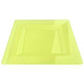 Plato Plastico Cuadrado Extra Rigido Verde 20x20cm (4 Uds)