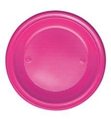 Plato de Plastico PS Hondo Fucsia Ø220mm (30 Uds)