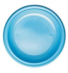 Plato de Plastico PS Hondo Azul Claro Ø220mm (600 Uds)