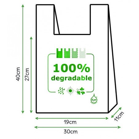 Bolsa Plastico Camiseta 100% Degradable 30x40cm (200 Uds)