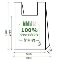 Bolsa Plastico Camiseta 100% Degradable 30x40cm (200 Uds)