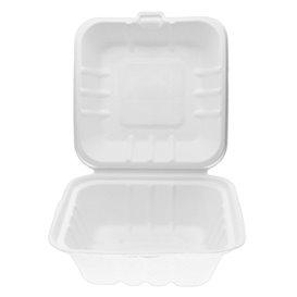 Envase Hamburguesa Caña Azúcar Blanco 150x150x80mm (50 Uds)