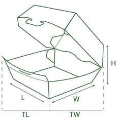 Caja Kraft para Hamburguesa Gigante 18,6x14,6x4cm (200 Uds)