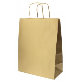 Bolsa Papel Kraft Hawanna con Asas 100g 24+12x31 cm (50 Uds)