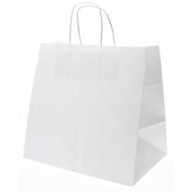 Bolsa Papel Kraft Blanca con Asas 80g 26+17x24 cm (50 Uds)