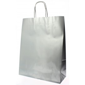Bolsa Papel Kraft Plata con Asas 100g 32+12x41 cm (50 Uds)