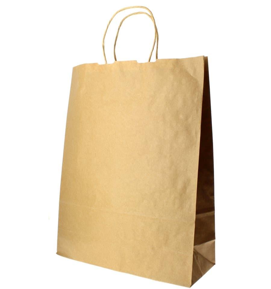 Bolsa de Papel Asa Plana Blanca Pack de 25 uds 18 x 08 x 24