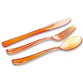 Kit Cubiertos Plastico Tenedor, Cuchillo, Cuchara Naranja (1 Kit)