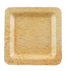 Plato Cuadrado de Bambú 15x15x1cm (10 Uds)