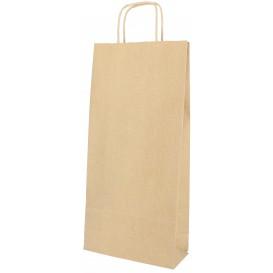 Bolsa Papel Kraft para Botellas Asas 18+8x39cm (50 Uds)