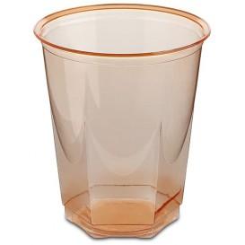 Vaso Plastico Hexagonal PS Cristal Naranja 250ml (10 Uds)