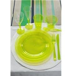 Plato Plastico Redondo Extra Rigido Verde 26cm (6 Uds)