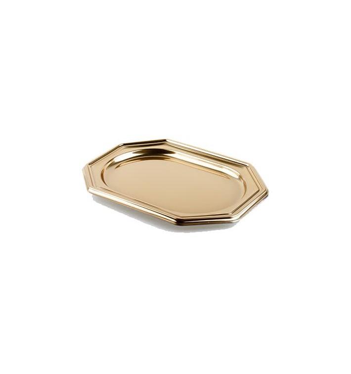 Bandeja de Plastico Octogonal Oro 46X30 cm (5 Uds)