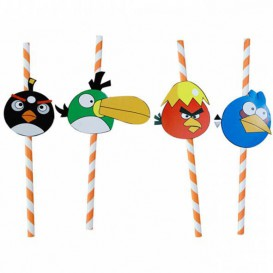 Pajita de Papel Decorada Pájaros Ø6mm 24cm (100 Uds)