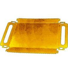 Bandeja Cartón Rectangular Oro Asas 285x385x25 mm (100 Uds)