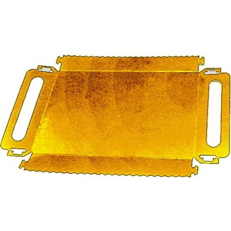 Bandeja Cartón Rectangular Oro Asas 320x75x25 mm (100 Uds)